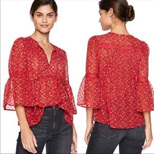 Lucky Band red floral swiss dot ditsy blouse